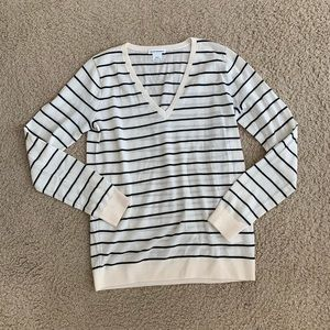 Club Monaco Ivory and Black Vneck Striped Sweater